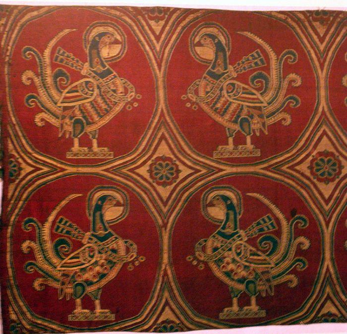 Jouarre Abbey, pheasants on silk, Sassanian, 7th-8thc